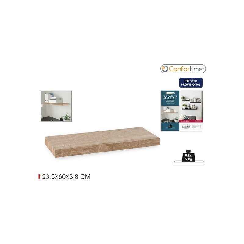 Casashelf Estante de Pared Flotante Negro 23,5x60x3,8cm