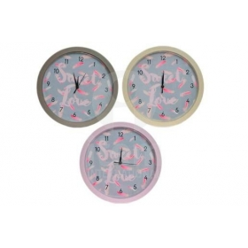 Reloj plumas pared 3 colorees